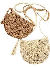 2 Pieces <b>Woven Straw</b> Handbag Beach Shoulder Bag with <b>Tassels</b> ...