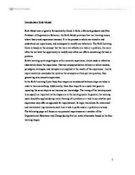 learning experience essay  www gxart orgmy learning experience the kolb model was originally formulated my learning experience the kolb model was
