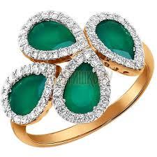 6013021 - Золотое кольцо с хризопразами <b>обрамлёнными</b> ...