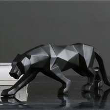ERMAKOVA Leopard Statue Large Size Modern Abstract <b>Geometric</b> ...