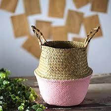 JETTINGBUY <b>Foldable</b> Seagrasss Flower <b>Baskets</b> Garden Flower ...
