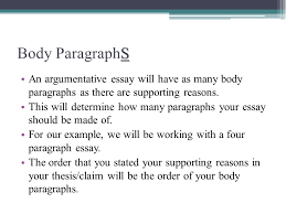 how to write a body paragraph in an argumentative essay   essay the argumentative essay english language arts ppt