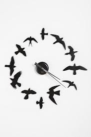 treasures quot indoor outdoor clock thermometer black bird wall clock unique diy wall clock you can arrange anywhere a
