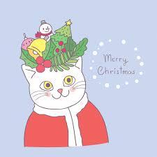 <b>Cartoon cute christmas</b> cat and <b>decoration</b> vector. | Premium Vector