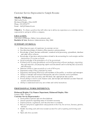 sample resume customer service representative
