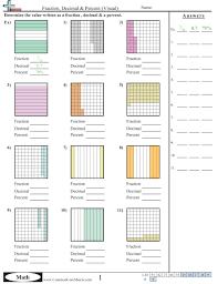 Converting Forms WorksheetsFraction, Decimal & Percent (Visual) worksheet ...