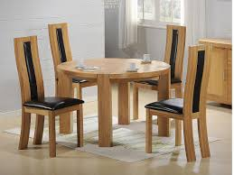 Round Back Dining Room Chairs Light Brown Wooden Round Table With Four Legs Combined With Chairs