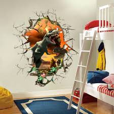 Small Picture Cartoon 3D Dinosaur Wall Sticker for Boys Room Child Art Decor
