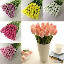 <b>10Pcs</b>/<b>Set Artificial</b> Tulip Real Latex <b>Flower</b> Bridal Wedding Bouquet ...
