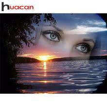 huacan <b>алмазная</b> вышивка глаза полная выкладка картина ...