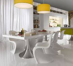astonishing modern dining room sets: s shaped chairs design in modern dining room feat sleek table with steel leg idea and