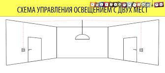 Схема <b>переключателя</b> света с двух мест