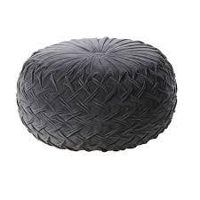 Black <b>Velvet</b>-Effect Woven <b>Cotton Pouffe</b> | Maisons du Monde
