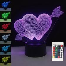 <b>3D Valentines day</b> gift LED Touch 7 <b>Color</b> Light Decorative Table ...