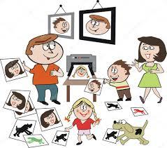 Vector cartoon of <b>happy family printing</b> photographs with pet dog ...