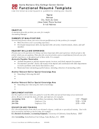 Resume Examples: Example Functional Resume Free Resume Template ... Example Functional Resume for Objective with Summary of Qualifications and Relevant Skills