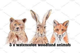 <b>Watercolor</b> Animals <b>Bear</b> Hare <b>Fox</b> ~ Illustrations ~ Creative Market