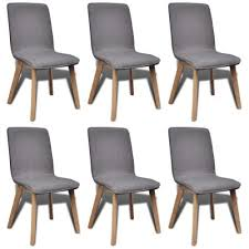 vidaXL <b>Oak Indoor Fabric Dining</b> Chair Set 6 pcs Dark Grey (Kitchen ...