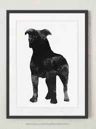 Dark Staffie Silhouette, Cute <b>Dog</b> Wall Art, Gray Watercolor Painting ...