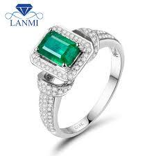 <b>Promotion</b>! Solid 14k White Gold 1.25ct <b>Natural</b> Columbian <b>Emerald</b> ...