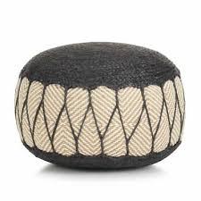 <b>Woven</b>/<b>Knitted Pouffe Jute</b> Cotton 50x30cm Blue Foot Rest Stool Seat
