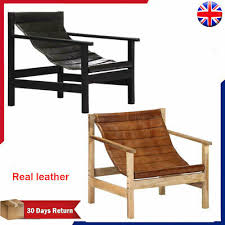 Wooden <b>Relaxing Armchair Black</b> Brown <b>Real</b> Leather Living Room ...