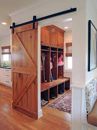 Superb Mudroom  amp  Entryway Design Ideas   Benches and    House plans   mudroom entrance   sliding wooden door  Big wooden storage lockers   small
