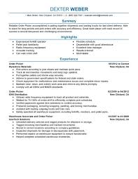best order picker resume example livecareer choose
