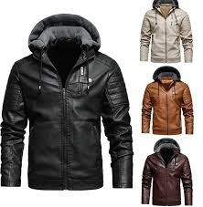 Special Offers <b>mens pu leather jacket</b> hooded near me and get free ...