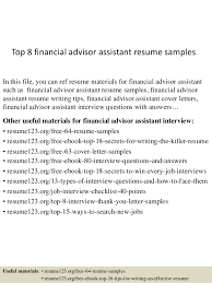 Top   financial advisor assistant resume samples In this file  you can ref resume materials     SlideShare