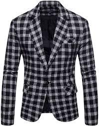 <b>Mens</b> Plaids <b>Suit</b> Blazer Slim Fit One Button Notch <b>Lapel</b> Casual ...