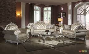 Button Couch Elegant Metallic Pearl Button Tufted Leather Formal Living Room