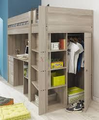 charming wood loft beds for teenagers with desk and shelves plus wardrobe on white tile floor bunk bed dresser desk