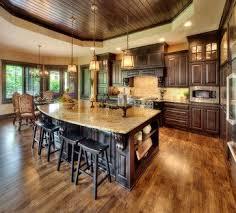 hardwood flooring in the kitchen ideas minimalist dark brown oak wood floor in kitchen cream granite co