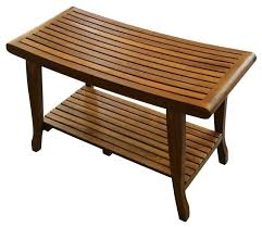 <b>TEAK</b> Wood Shower Bath Spa Waterproof <b>Stool</b> Bench with Shelf ...