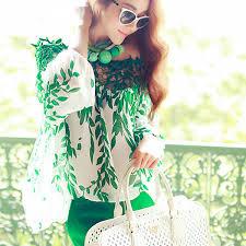 <b>Women Leaf Printed Knitted</b> Blouse Chiffon Tops Long Sleeve Shirt ...