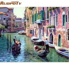 2019 RUOPOTY <b>Frame Venice Landscape DIY</b> Painting By Number ...