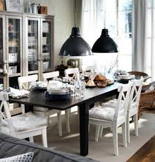 furniture superb ikea dining room with black pendant lamps and black dinner table and white chairs black furniture ikea