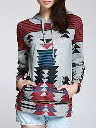 <b>Casual Geometric Pattern Long</b> Sleeves Hoodie For Women | Long ...