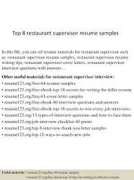 top8restaurantsupervisorresumesamples 150426011306 conversion gate01 thumbnail 4 jpg cb 1430028827