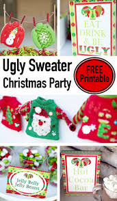 rustic plaid holiday party printables coca cola lillian ugly christmas sweater party printables