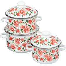 <b>Набор</b> эмалированной <b>посуды Сибирские товары</b> Роза ...