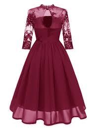 <b>Hollow Three</b>-<b>Quarter Sleeve</b> Embroidery Chiffon Dress