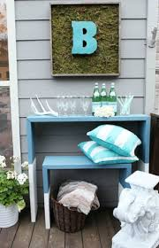 gallery outdoor living wall featuring: a worn outdoor space gets a full deck makeover with home depots patio set simple modern nesting tables and a blue and green color scheme