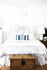 home decor touring boho bedroom decor lots of white old trunk at foot of the bed