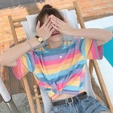CosmoCorner <b>Color</b>-<b>Block Striped</b> Short-<b>Sleeve</b> T-<b>Shirt</b> | YesStyle