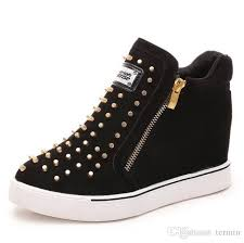 Spring Rivet Boots Double Zipper Rivet Boots Invisible Inner ...
