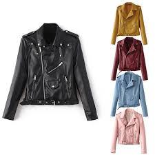 <b>Женские</b> слим байкер мотоциклов PU кожа <b>куртка</b> молнии пальто ...