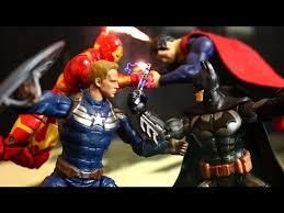 batman v superman vs captain america iron man spiderman stop motion action video part 1 w toys batman iron man fanboy