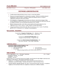 sample network administrator resume   proposaltemplates inforesume sample network administrator resume sample
